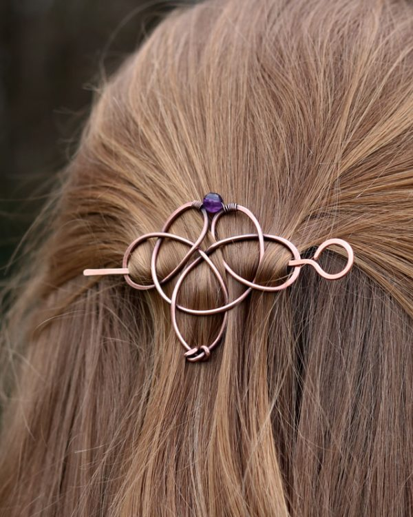 celtic knot hair pin with amethyst